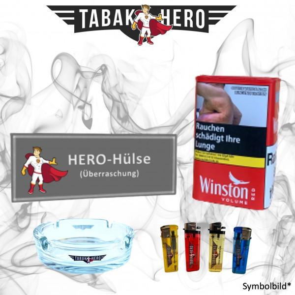 96g Winston Red Tin-L Tabak Dose + Hülsen + Zubehör, Stopftabak, Volumentabak