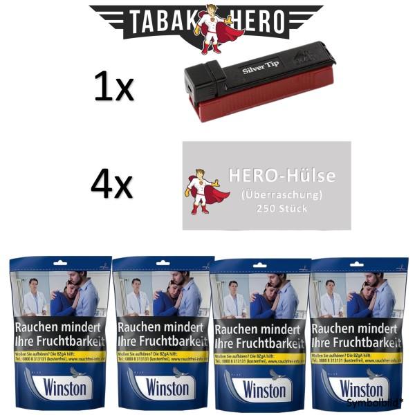 AKTION! 4x Winston Blue Beutel 125g + 4x Hero Hülsen 250 + Gizeh Silver Tip Boy Stopfer