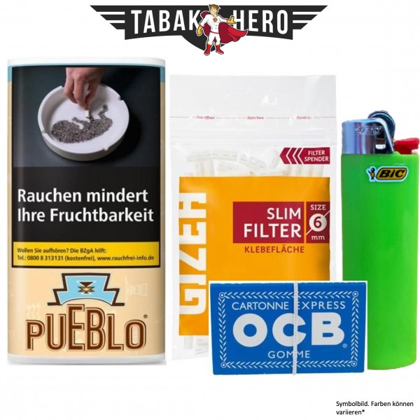Drehset Pueblo Classic 30g + Gizeh 6mm Filter & OCB 100 Blatt Papier + BIC Feuerzeug