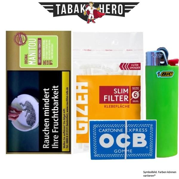 Drehset Manitou Organic Green 30g + Gizeh 6mm Filter & OCB 100 Blatt Papier + BIC Feuerzeug