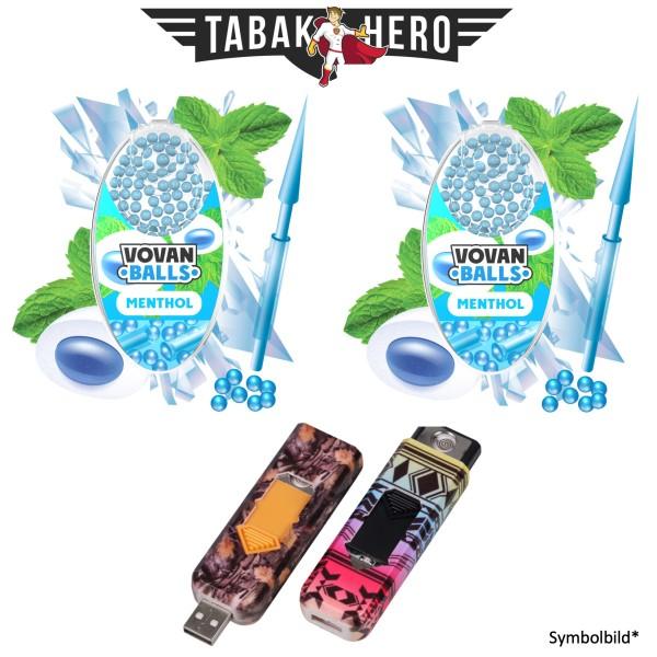 2x Vovan Aromakugeln Menthol + 1x USB Spiral Feuerzeug Geschenkt