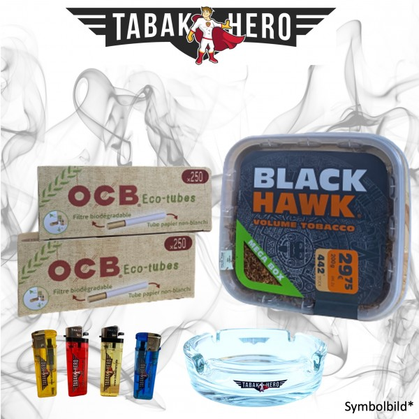 200g Black Hawk Tabak Mega Box, 500 OCB Organic Hülsen Stopftabak Volumentabak