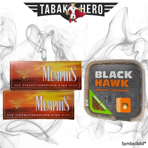 230g Black Hawk Tabak Mega Box, 500 Hülsen, Zubehör Stopftabak Volumentabak