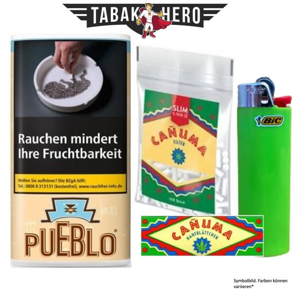 Drehset Pueblo Classic 30g + Canuma 6mm Filter & Canuma Drehpapier + BIC Feuerzeug