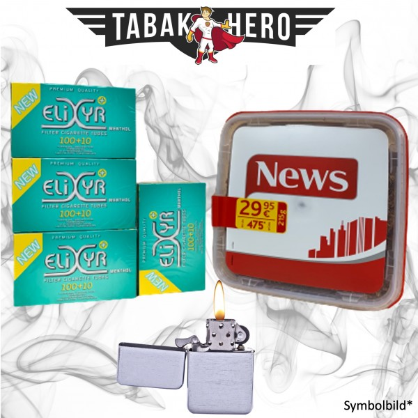 250g News Red Tabak, Elixyr Menthol-Filterhülsen + mehr, Stopftabak Volumentabak