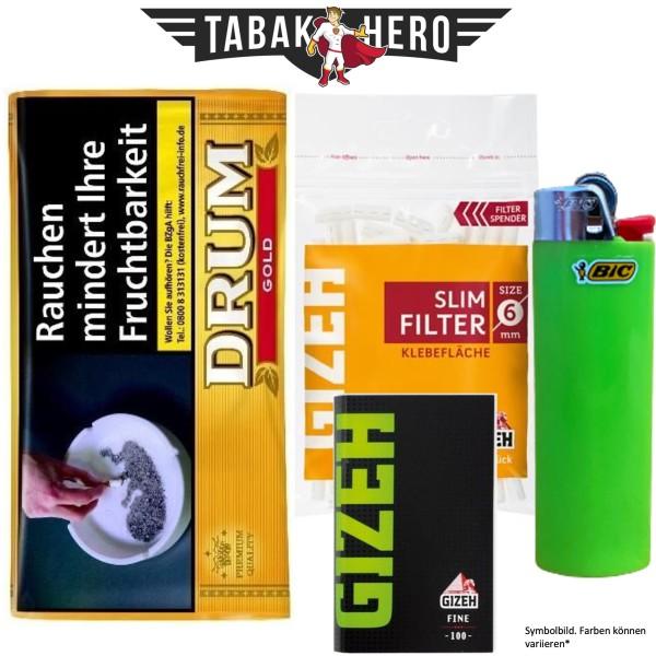 Drehset Drum Gold 30g + Gizeh 6mm Filter & Gizeh Fine Papier + BIC Feuerzeug
