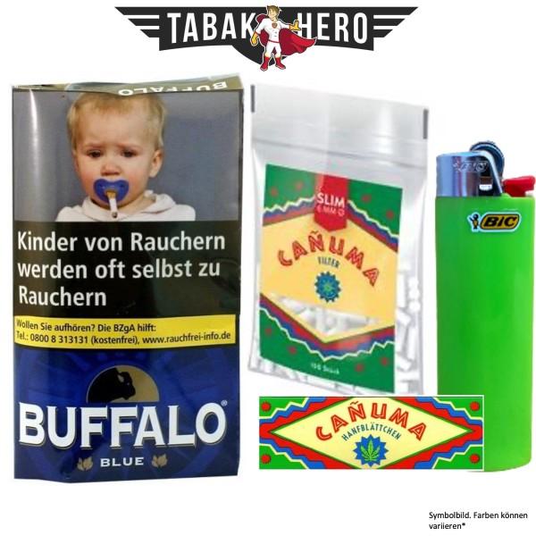 Drehset Buffalo Blue 40g + Canuma 6mm Filter & Canuma Drehpapier + BIC Feuerzeug