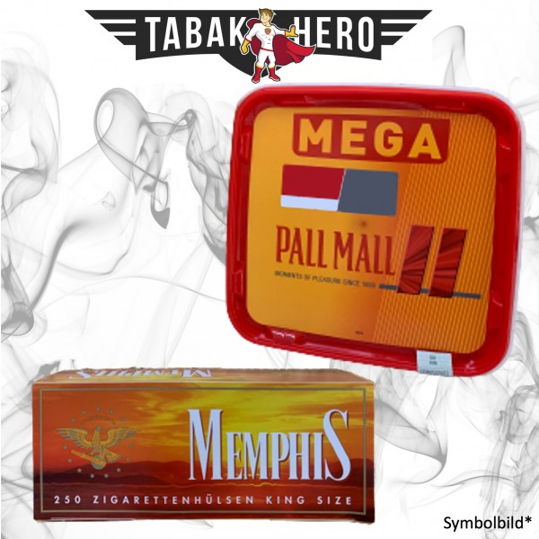 155g Pall Mall Allround Red Mega Box Tabak, 250 Hülsen, Stopftabak, Cannabis-AB