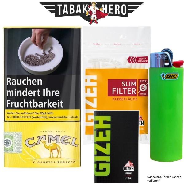 Drehset Camel Tabak 30g + Gizeh 6mm Filter & Gizeh Fine Papier + BIC Feuerzeug