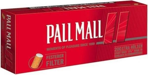 Pall Mall Extra Red Hülsen Filterhülsen Zigarettenhülsen Stopfhülsen 200 Stück