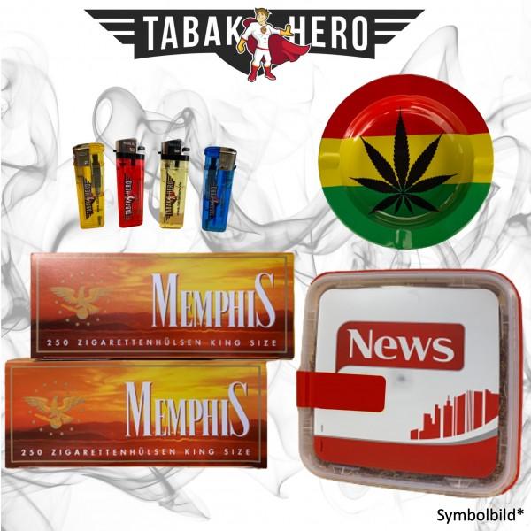 250g News Red Tabak, 500 Hülsen, Stopftabak, Cannabis Aschenbecher