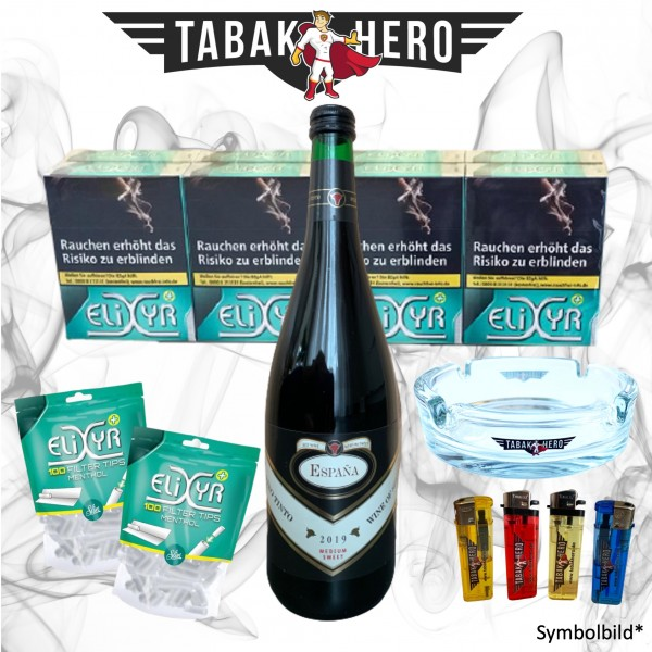 8 x Elixyr Zigaretten XL + 200 Elixyr Tips (Energy) Menthol-Filtertips + Wein