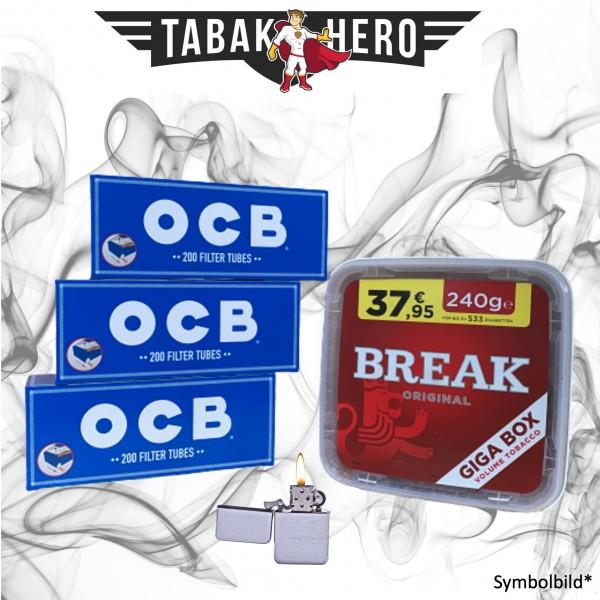 230g Break Original Tabak, 600 OCB Hanf Hülsen, mehr Stopftabak Volumentabak