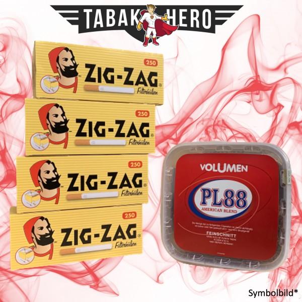 400g PL88 Red Tabak , 1.000 Zig Zag King Size Hülsen (Stopftabak Volumentabak)