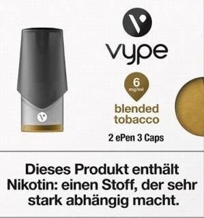 6 x 2 Vuse (Vype) ePen Caps Blended Tobacco 6mg