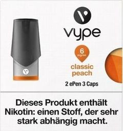 6 x 2 Vuse (Vype) ePen Caps Classic Peach 6mg