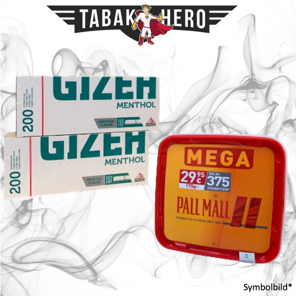 170g Pall Mall Red MEGA Box, Gizeh Menthol-Filterhülsen Stopftabak Volumentabak