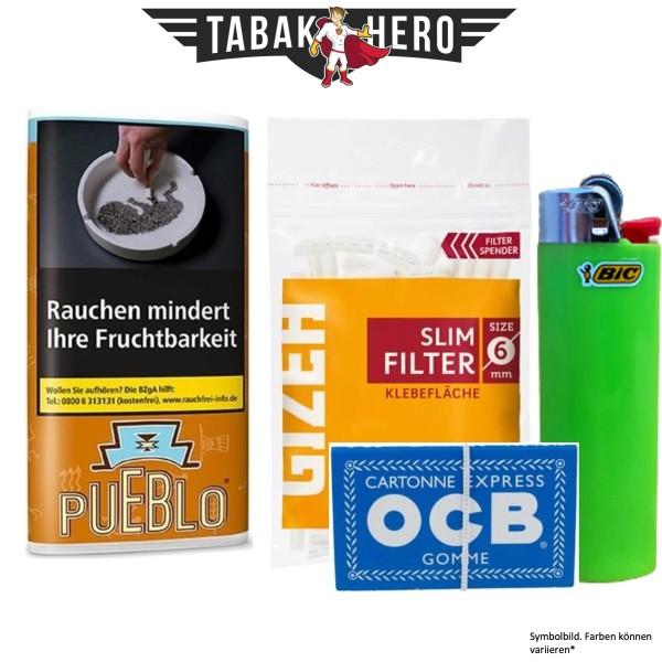 Drehset Pueblo Burley 30g + Gizeh 6mm Filter & OCB 100 Blatt Papier + BIC Feuerzeug