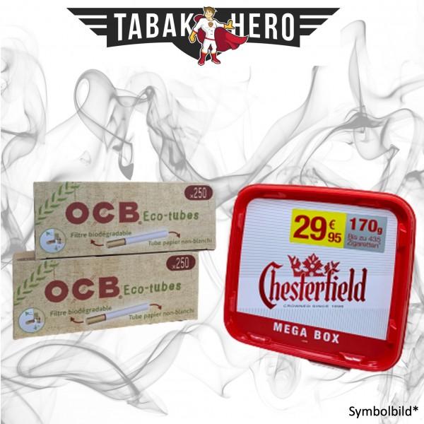 155g Chesterfield Red Tabak Mega, 500 OCB Organic Hülsen Stopftabak Volumentabak