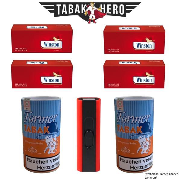 2x Farmer Tabak 160g + 4x 200 Winston Hülsen+ 1x Spiralfeuerzeug