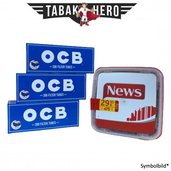 250g News Red Tabak, 600 OCB Hanf Hülsen (Stopftabak Volumentabak)