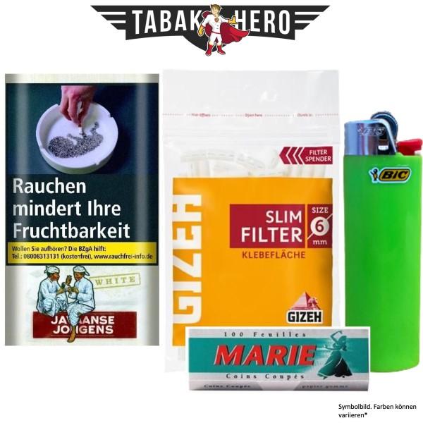Drehset Javaanse White 30g + Gizeh 6mm Filter & Marie 100 Blatt Papier + BIC Feuerzeug