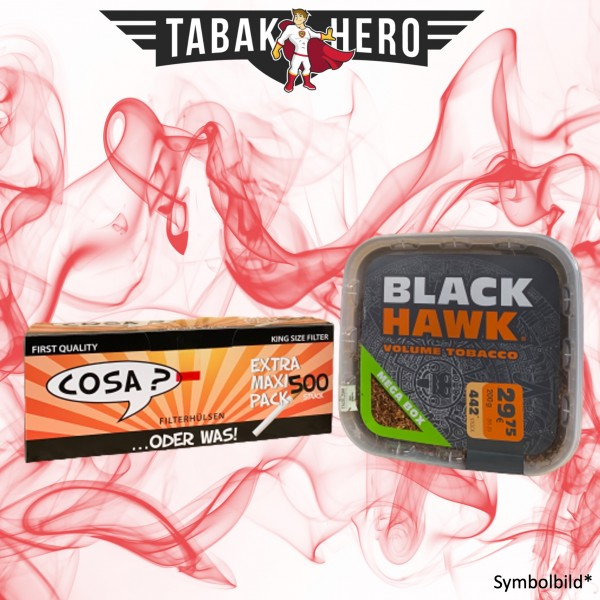230g Black Hawk Tabak Mega Box, 500 Cosa Hülsen (Stopftabak Volumentabak)