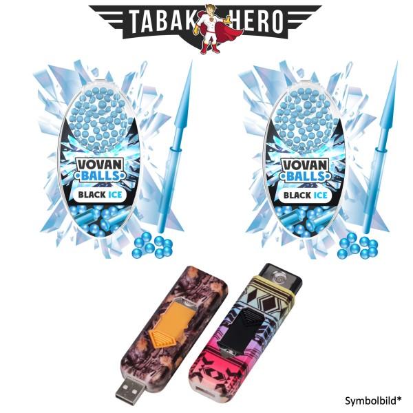2x Vovan Aromakugeln Black Ice + 1x USB Spiral Feuerzeug Geschenkt