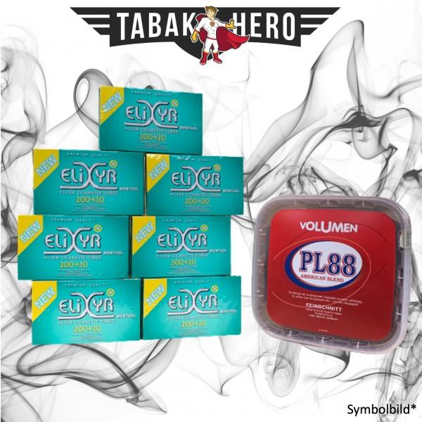 400g PL88 Red Tabak , 770 Elixyr Menthol-Filterhülsen (Stopftabak Volumentabak)