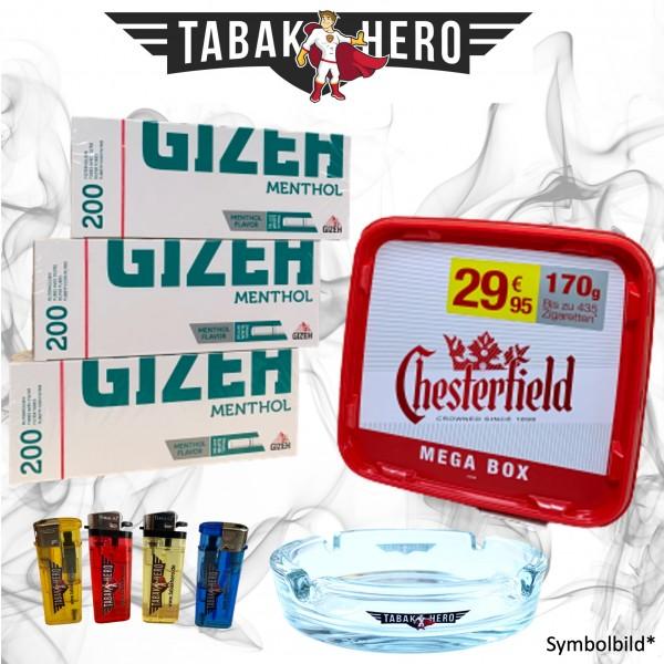 170g Chesterfield Red Tabak Stopftabak Volumentabak, Gizeh Menthol-Filterhülsen