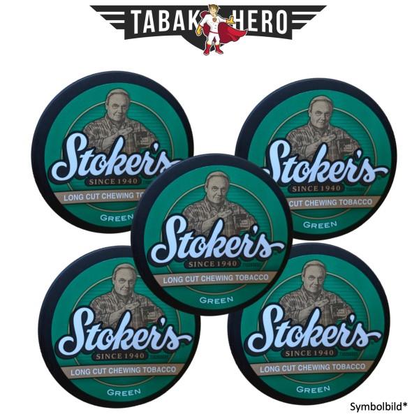 5x Stokers Green Long Cut Kautabak 34g