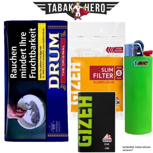 Drehset Drum Original 30g + Gizeh 6mm Filter & Gizeh Fine Papier + BIC Feuerzeug-Copy