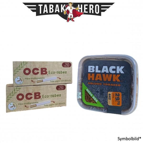 230g Black Hawk Tabak Mega Box, 500 OCB Organic Hülsen (Stopftabak Volumentabak)
