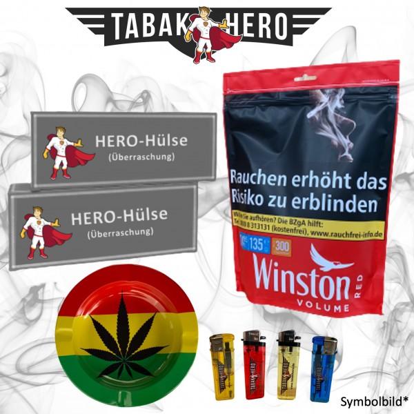 135g Winston Red Tabak Zip Beutel + Hülsen + Zubehör, Stopftabak, Cannabis-AB