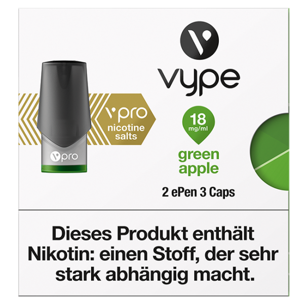 6 x 2 Vuse (Vype) ePen Caps Green Apple 18mg
