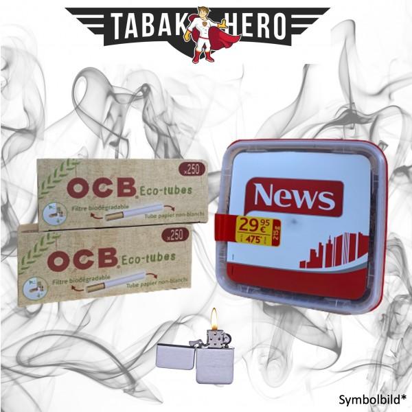 215g News Red Tabak, 500 OCB Organic Hülsen, Feuerzeug (Stopftabak Volumentabak)