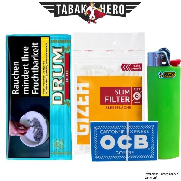 Drehset Drum Hellblau 30g + Gizeh 6mm Filter & OCB 100 Blatt Papier + BIC Feuerzeug