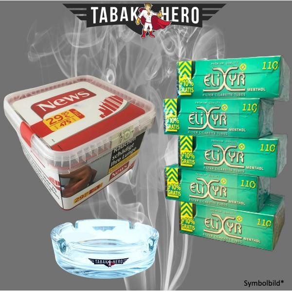 News Red 250g Tabak, 550 Elixyr Menthol-Filterhülsen, Stopftabak Volumentabak